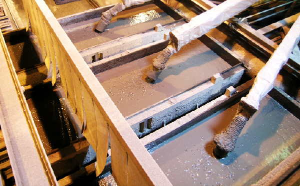 Slurry being poured into moulds