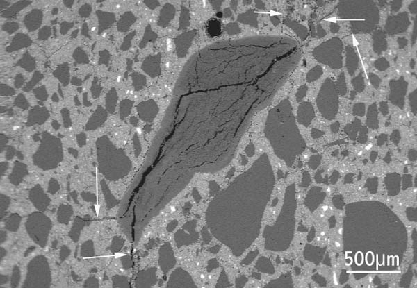 Figure 2 Polished section of concrete, scanning electron microscope image: chert aggregate particle with internal cracks due to ASR extending from the aggregate into the nearby concrete (arrowed).