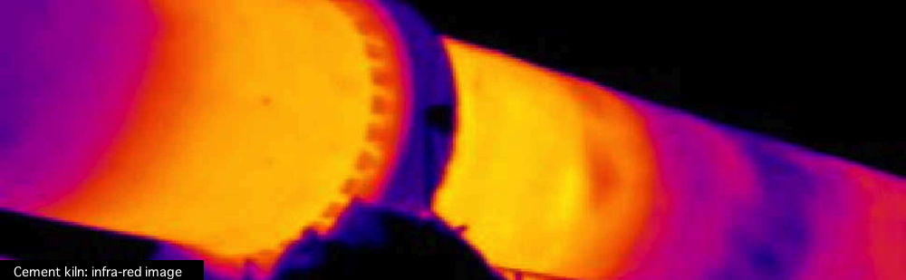 Infra-red image of cement kiln, showing hotter (yellow, burning zone) and cooler (red, mauve, blue) regions