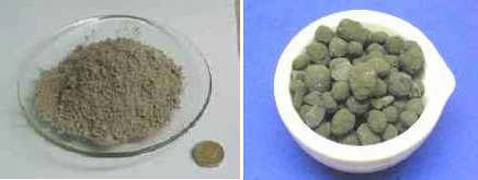 Difference between Cement (left) and clinker (right). The coin is a UK one-pound coin about 23mm across.