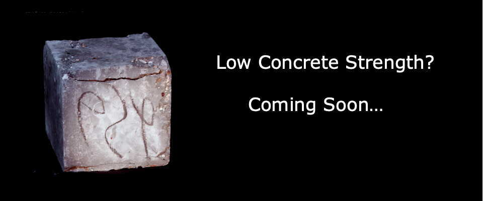 Photo of concrete cube with black background and caption: Concrete Strength Problems? Coming Soon.