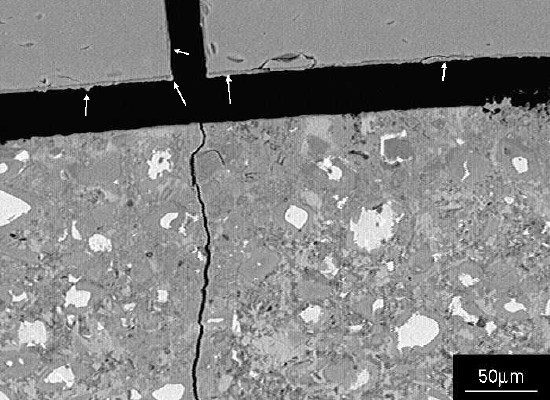 Image showing residual alkali silicate gel adhering to the glass surfaces (arrowed).