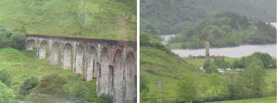 Photos of the Glenfinnan viaduct viewed from the train, and the Glenfinnan monument.