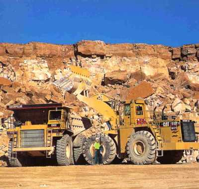 Picture if limestone quarry and heavy equipment